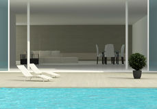Terrace with the swimming pool stock illustration