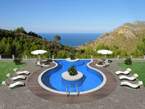 Terrace with swimming pool Royalty Free Stock Photography