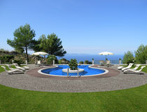 Terrace with swimming pool Royalty Free Stock Photo