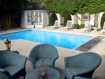 Terrace and swimming pool Stock Images