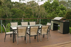 Terrace with table and bbq Stock Image