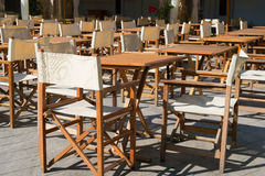 Terrace with tables and chairs Royalty Free Stock Image