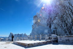 Terrace on the top of the l'aiguille du midi. In the french alps Stock Photos