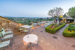 Terrace with Tuscany Hills view at dusk Stock Images