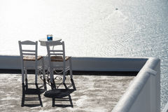 Terrace with two chairs, Santorini Royalty Free Stock Photography