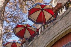 Terrace Umberellas Stock Photo