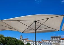 Terrace umbrella in Rochefort Stock Image