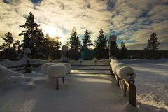 A terrace under snow in Lapland. Finland. stock photos