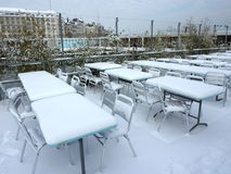Terrace under the snow Royalty Free Stock Image