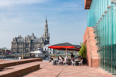 Terrace with unknown people near museum MAS of Antwerp, Belgium Stock Image