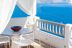 Terrace with view of the caldera in Santorini Stock Photo