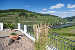 Terrace with view at the river Moselle in Germany Royalty Free Stock Image