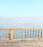 Terrace view with sea and clear sky Royalty Free Stock Photos