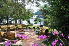 Terrace with a view to Canaima. Gathering place in Canaima National Park Stock Images