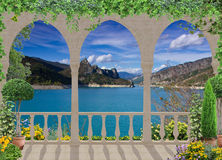 Terrace with view to the mountain lake ,Europe ,France Stock Photography