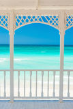 Terrace with a view of a tropical beach in Cuba Royalty Free Stock Image
