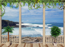 Terrace with views of the ocean, Portugal Stock Photo