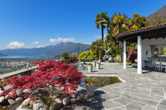 Terrace of a villa, lake view Royalty Free Stock Images