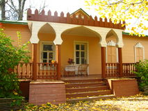 Terrace of village house in autumn. Melekhovo. Terrace of house of writer Chekhov in Melekhovo, Moscow region, Russia, autumn, golden leaves Stock Photos
