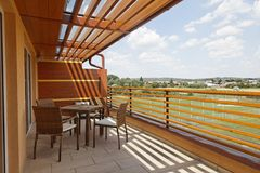 Terrace at Vivat apartment. Terrace at the top of apartment building at Vivat Moravske Toplice Royalty Free Stock Images