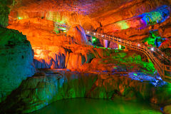 The terrace of water-eroded cave royalty free stock image
