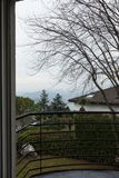 Terrace and winter day. From first floor of modern villa Royalty Free Stock Images