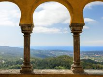Beautiful view from the arch of the Pena National Palace. Sintra. Portugal. stock photo