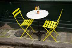 Terrace with  yellow chairs Royalty Free Stock Photography