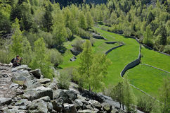 Terraced τομείς madriu-Perafita-Claror στην κοιλάδα, Ανδόρα στοκ φωτογραφία με δικαίωμα ελεύθερης χρήσης
