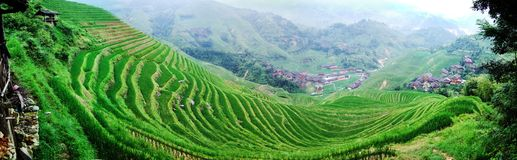 Terraced field and village Stock Photo