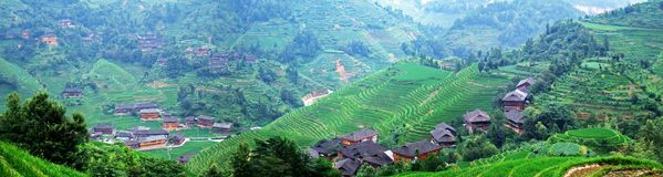 Terraced field and village Royalty Free Stock Photo