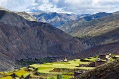 Terraced fields in Saldang village, Nepal Royalty Free Stock Image