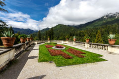 Terraced formal garden with lawn and flowerbeds Stock Images