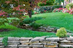 Terraced Garden. A front yard garden layed out in a terraced manner Stock Image