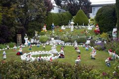 Terraced garden full of garden gnomes, Stanley Falkland Islands. Scene from around Falkland Islands royalty free stock image