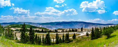 Highland Valley Copper Mine in Canada. The terraced hillside of the Highland Valley Copper Mine, the largest open pit copper mine in Canada stock images