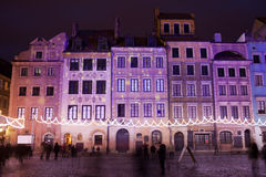 Terraced Historic Houses at Night in Warsaw Royalty Free Stock Photo