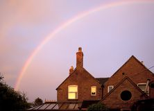 Terraced house with rainbow Royalty Free Stock Images