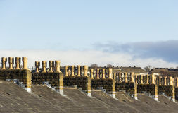 Terraced house roof chimney symmetry Royalty Free Stock Photography