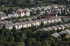 Terraced houses. Repetition terraced houses in suburban landscape Royalty Free Stock Photo