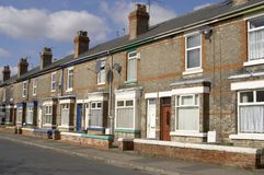 Terraced houses. A row of old terraced houses, Selby, UK Royalty Free Stock Images