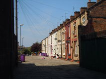 Terraced houses and telephone wires Royalty Free Stock Photo