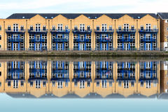 Terraced Houses along Millwall Outer Dock in London Stock Photo