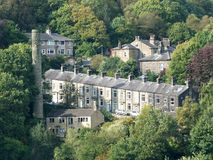 Terraced houses amongst the trees hebden bridge Royalty Free Stock Photography