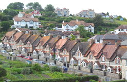 Terraced houses. In Beer village in Devon, England stock photo
