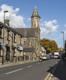 Terraced houses and church at Uppermill Royalty Free Stock Photography