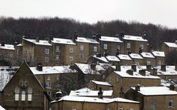 Terraced houses covered in snow in hebden bridge west yorkshire Royalty Free Stock Photo