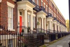 Terraced houses in Liverpool. Elegant Edwardian terraced houses in Liverpool Central stock photo