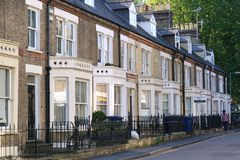 Terraced Houses in Residential street in Cambridge, England Stock Image