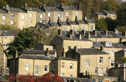 Terraced houses set in the trees in hebden bridge Royalty Free Stock Photo